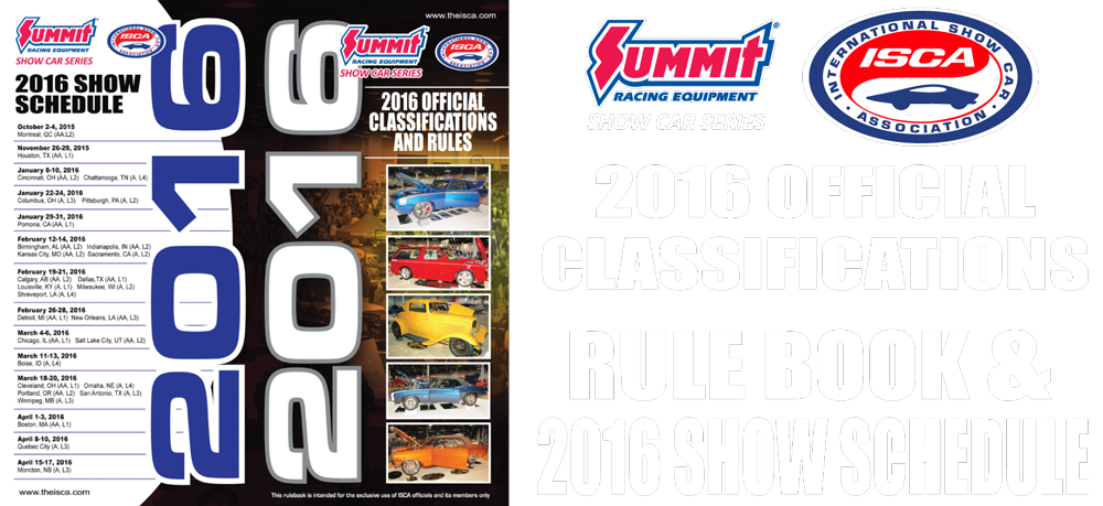 2016 ISCA Summit Racing Equipment Show Car Series Rule Book
